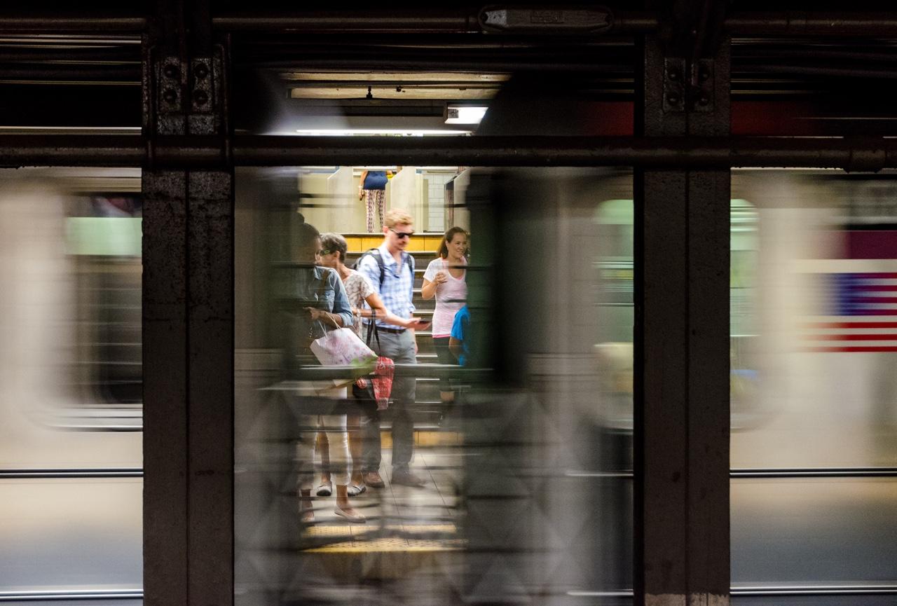 6 train arrives at 77th street. Manhattan, NYC
