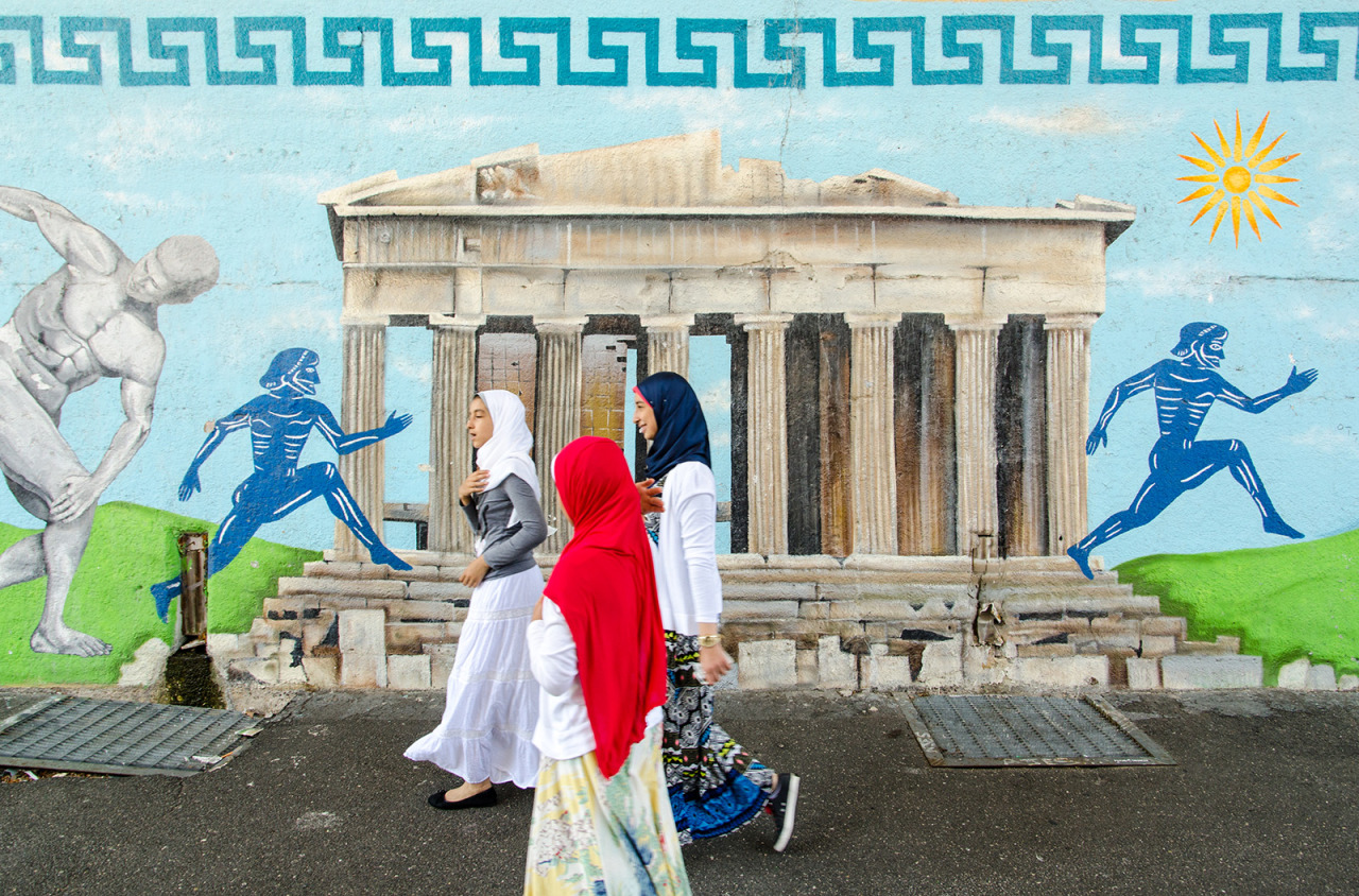 Mural of the Parthenon in Astoria, Queens, NYC.