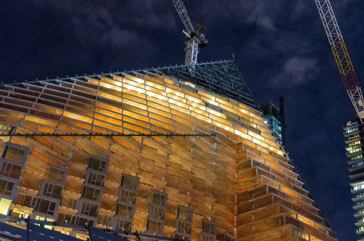 The new Bjarke Ingels Group high rise – 57th Street Tetrahedron – under construction in Hell's Kitchen, New York City.