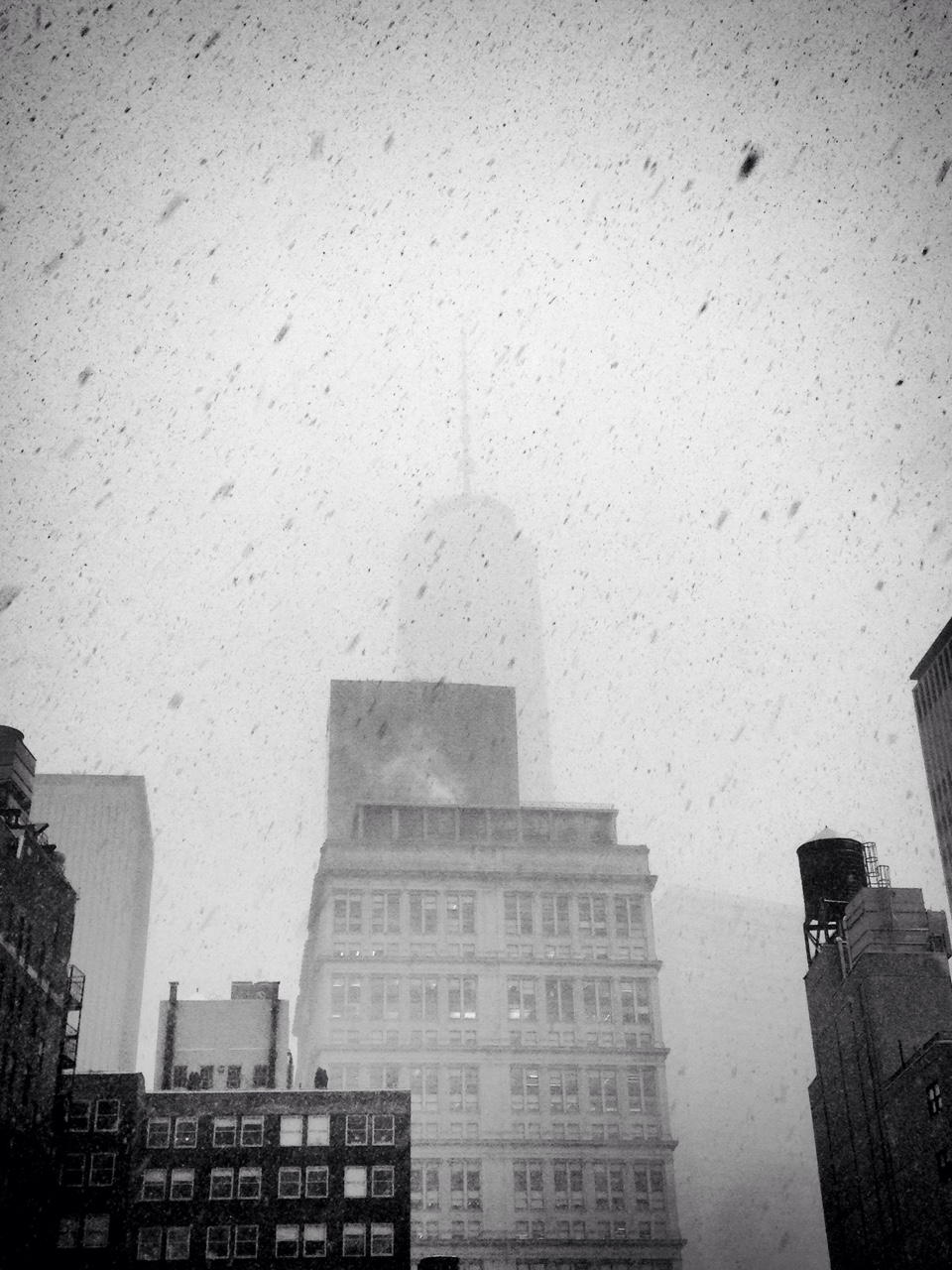 One World Trade Center in the snow.