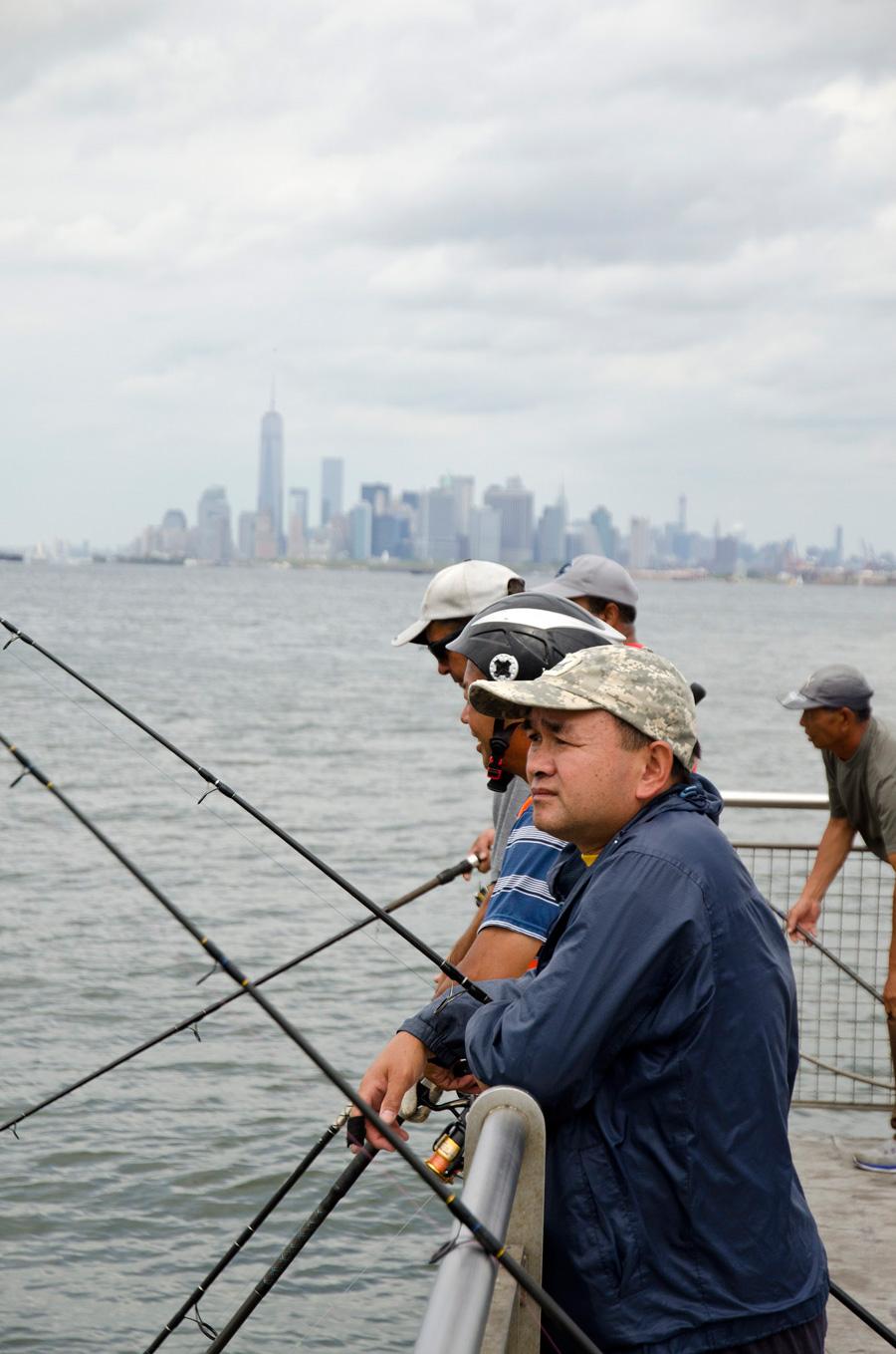 Fishermen on Owl's Head Pier in Brooklyn