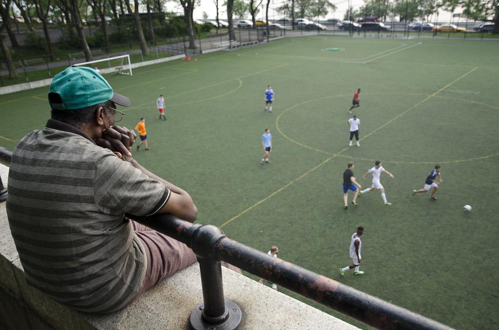 Soccer at Riverside Park in NYC.