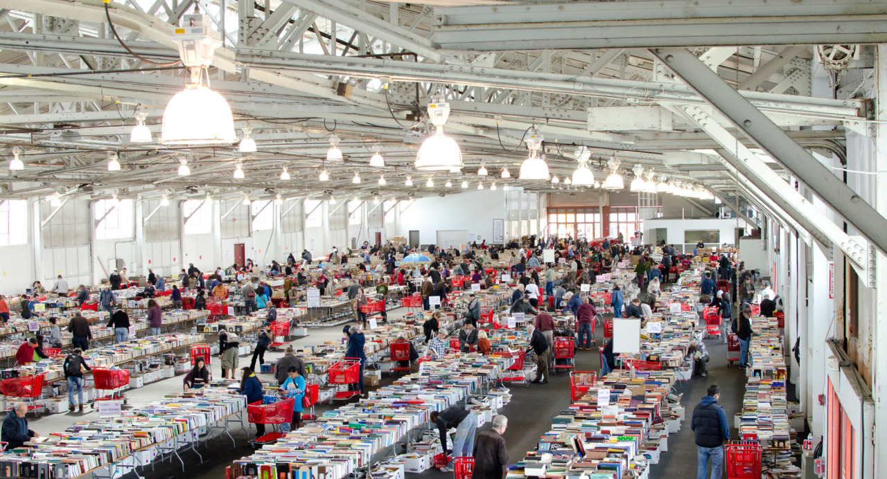SF Public Library book sale at Fort Mason, April 2013.