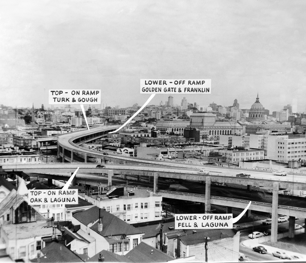 The Central Freeway in Hayes Valley. SF History Center, circa 1960.