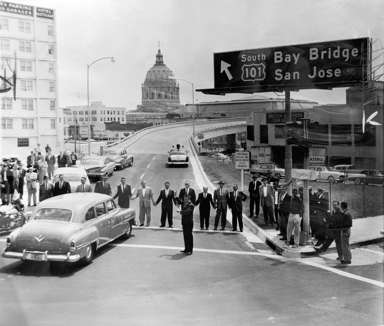 AP photograph of the opening of the Central Freeway in San Francisco, 1959. SF History Center