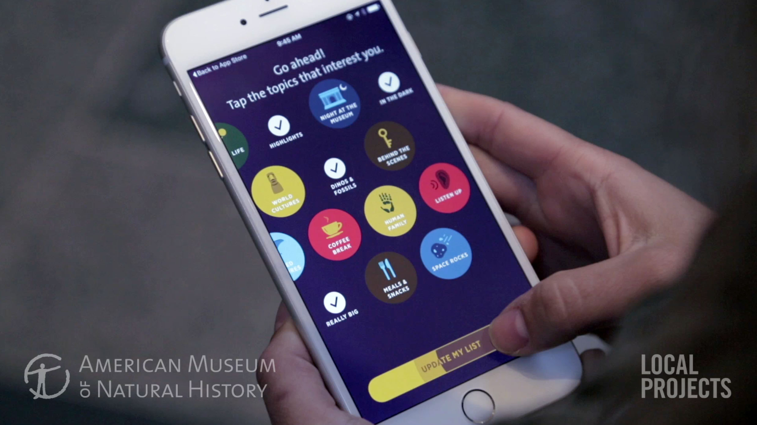On-boarding experience for the museum app.