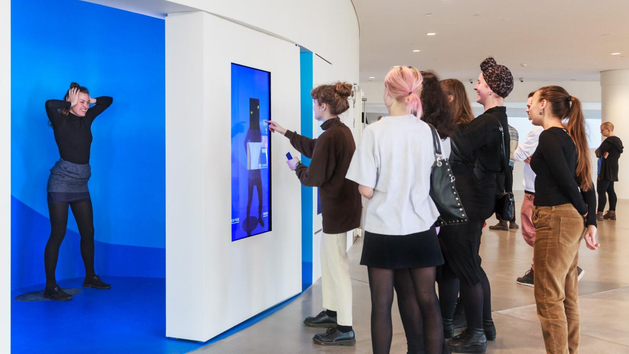 The Portrait Machine uses Kinects, cameras, OLED screens and the online collection of the museum to deliver unique collages based visitor poses.