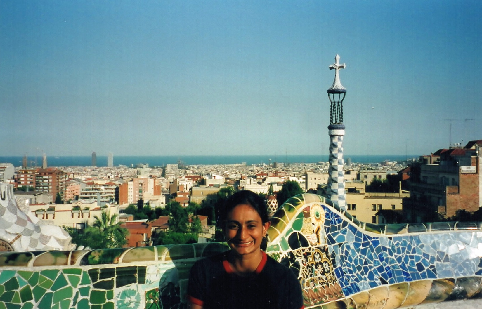 Me being extremely cheerful at the  Parc Guell  in Barcelona (one of my favourite European cities  !)