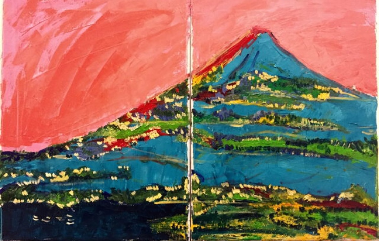 Claudia Piscitelli - Fuji under clear skies (oil painting)