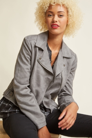 Revved Up Faux-Suede Moto Jacket