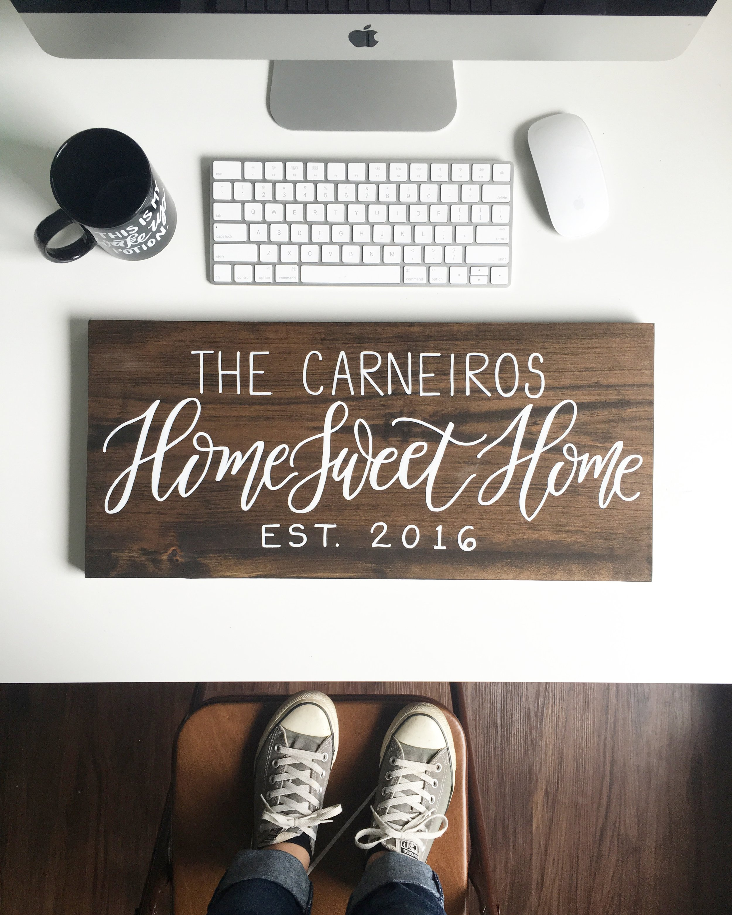 "Perhaps one of my favorite signs to make, my ""Home Sweet Home"" wood sign has been ordered by many different families and people to give as gifts for birthdays, weddings, anniversaries, and more! This design comes in many different lettering varieties depending on what they want the layout to look like."