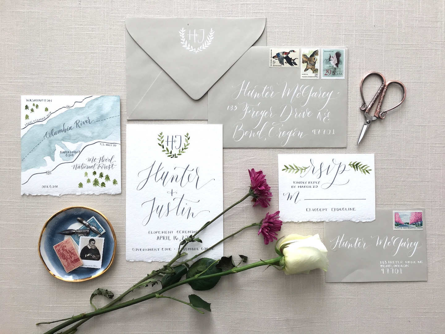 This is the finished product of my styling board with stationery elements placed on top of it! Due to the lighting in this photo, the board photographed more of a gray than a beige - but the neutral background still worked perfectly for what I was trying to accomplish!