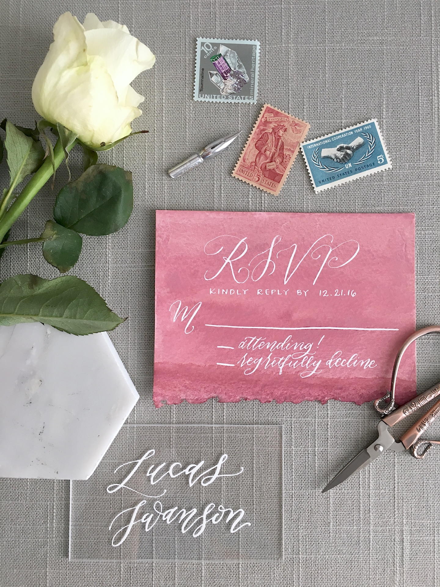 This is once again another example of a lovely RSVP card that I made for a styled shoot! RSVP cards for styled shoots tend to be more simplified than they need to be, but they are definitely lovely to look at! I did this one with a watercolor wash and PH Martin's Bleedproof White Ink.