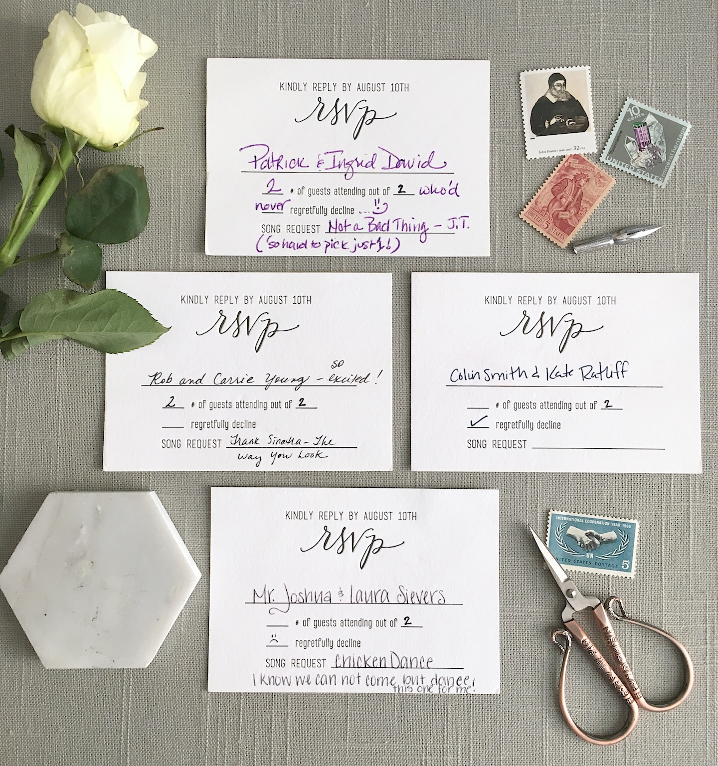 I love that I kept all of my RSVP cards! They are such a fun keepsake from our wedding and I love seeing the little notes that people included when they sent them back!