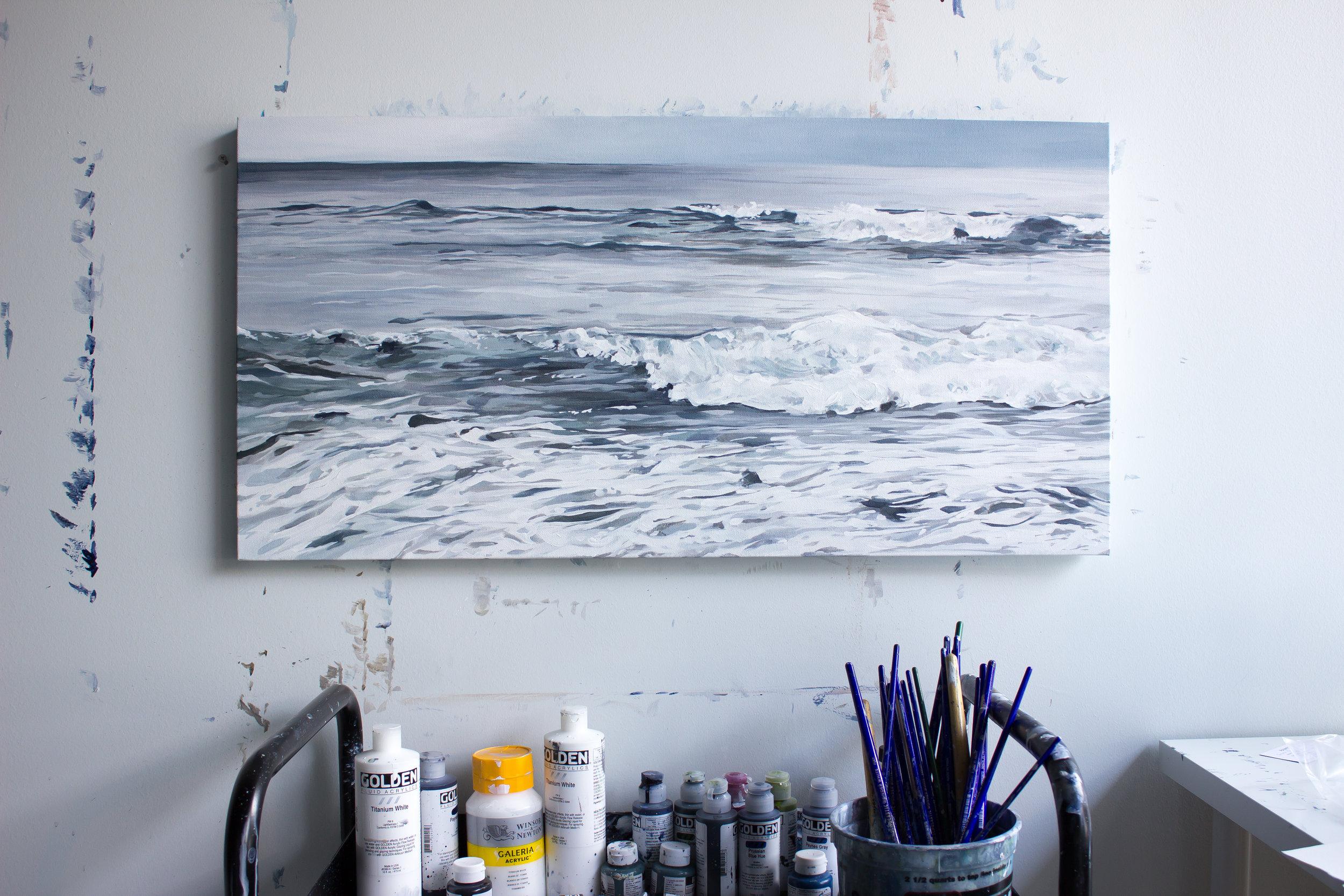 realistic ocean painting, beautiful ocean painting, brynn casey ocean painting