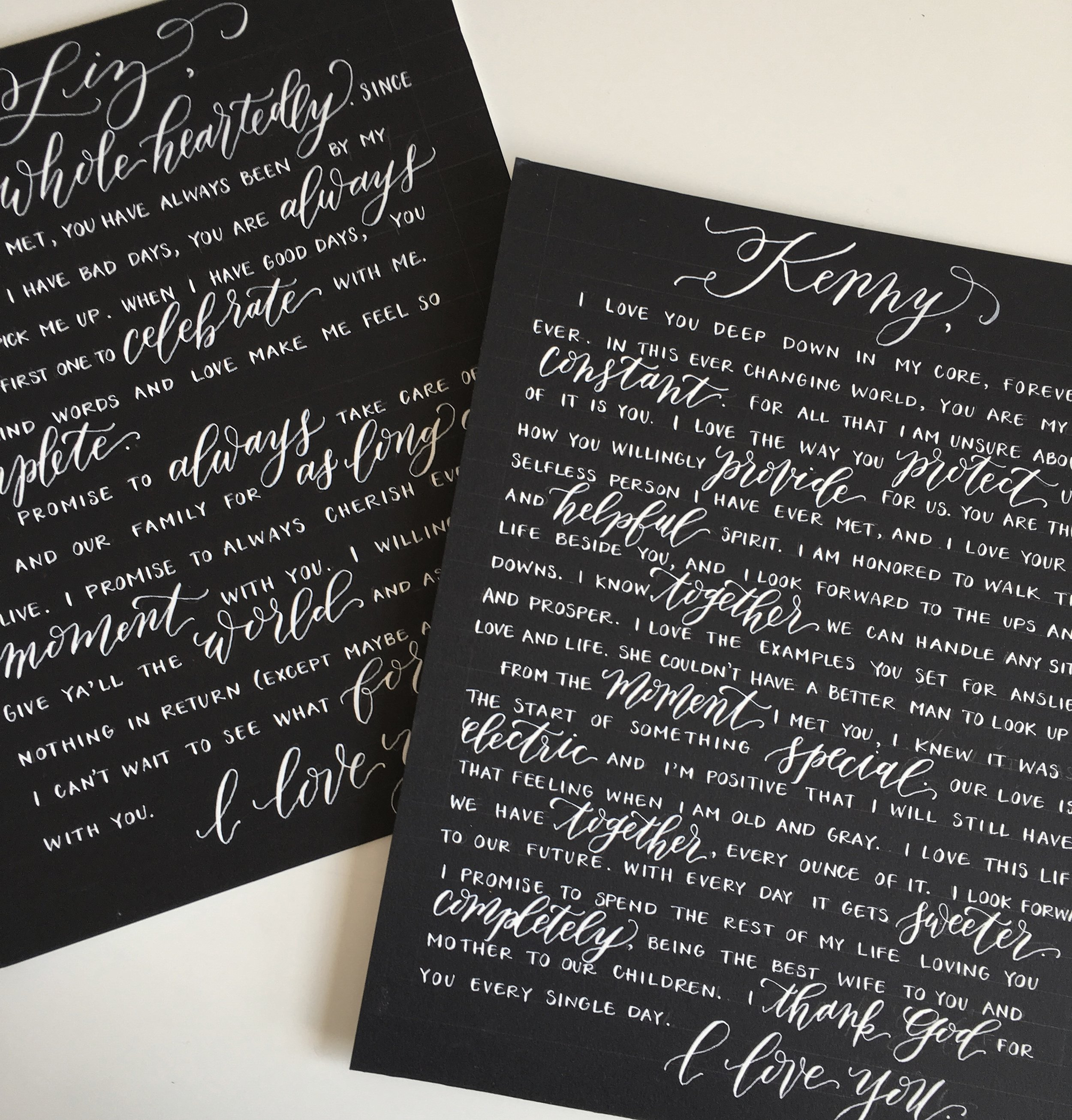 calligraphy vows in white ink on black cardstock written by elisaanne calligraphy