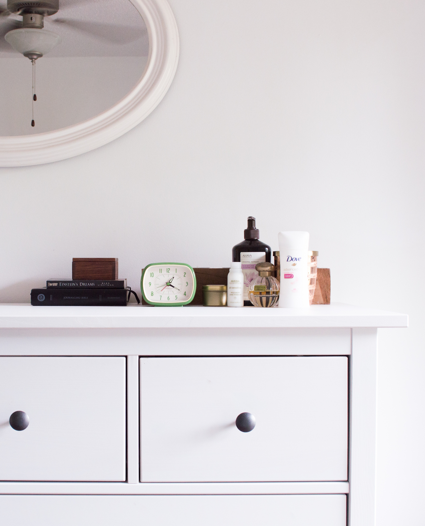White Ikea Dresser with Goodwill Mirror