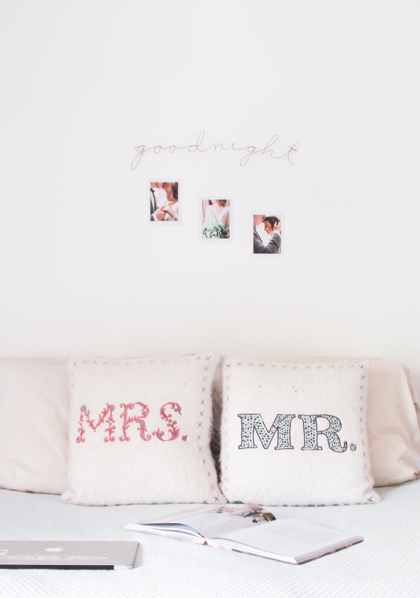 Anthropologie Mr and Mrs Pillows