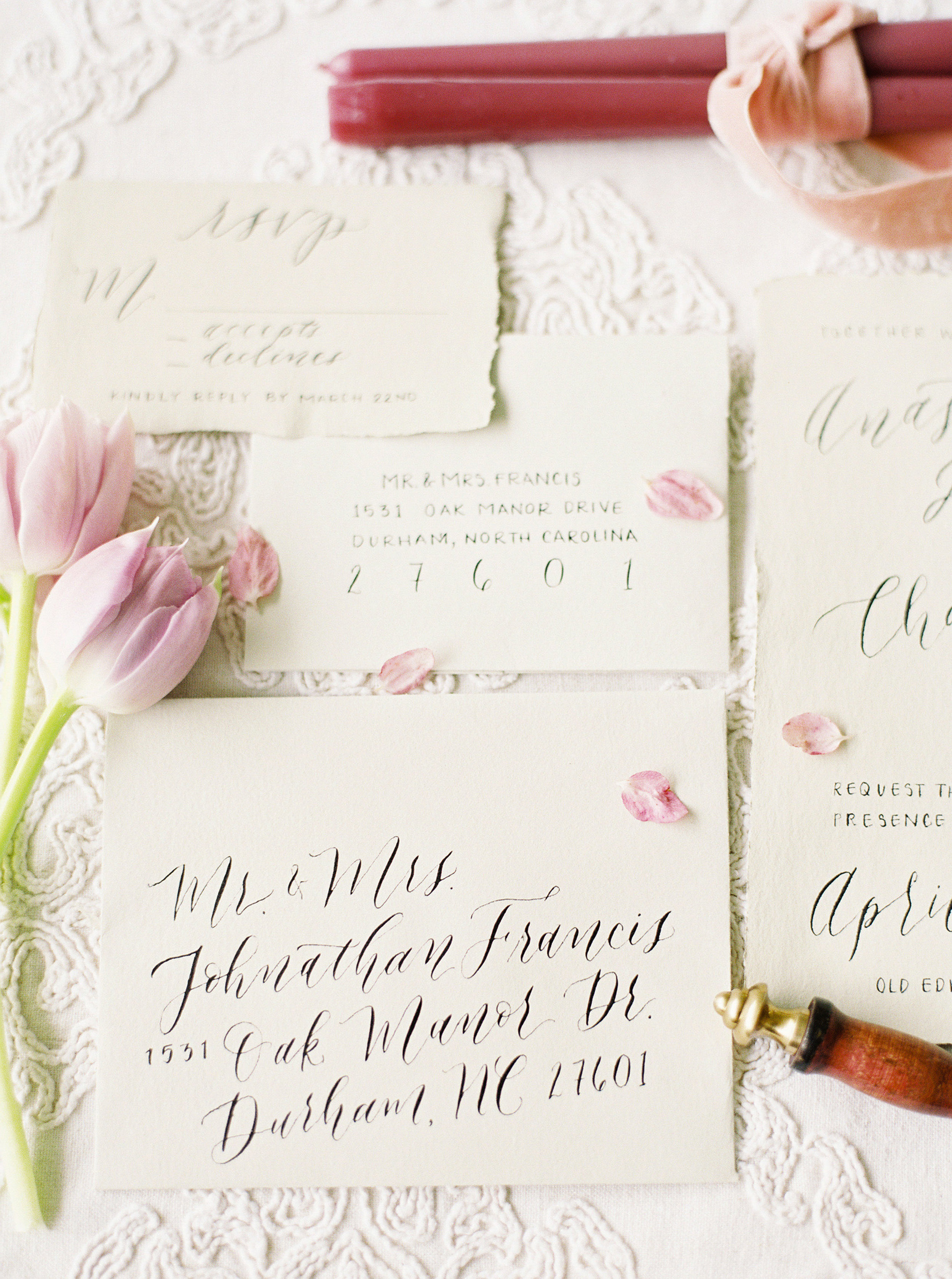 A beautiful hand-calligraphed suite for a styled shoot in Highlands, NC. Calligraphy by ElisaAnne Calligraphy. Photo by   Noi Tran  .