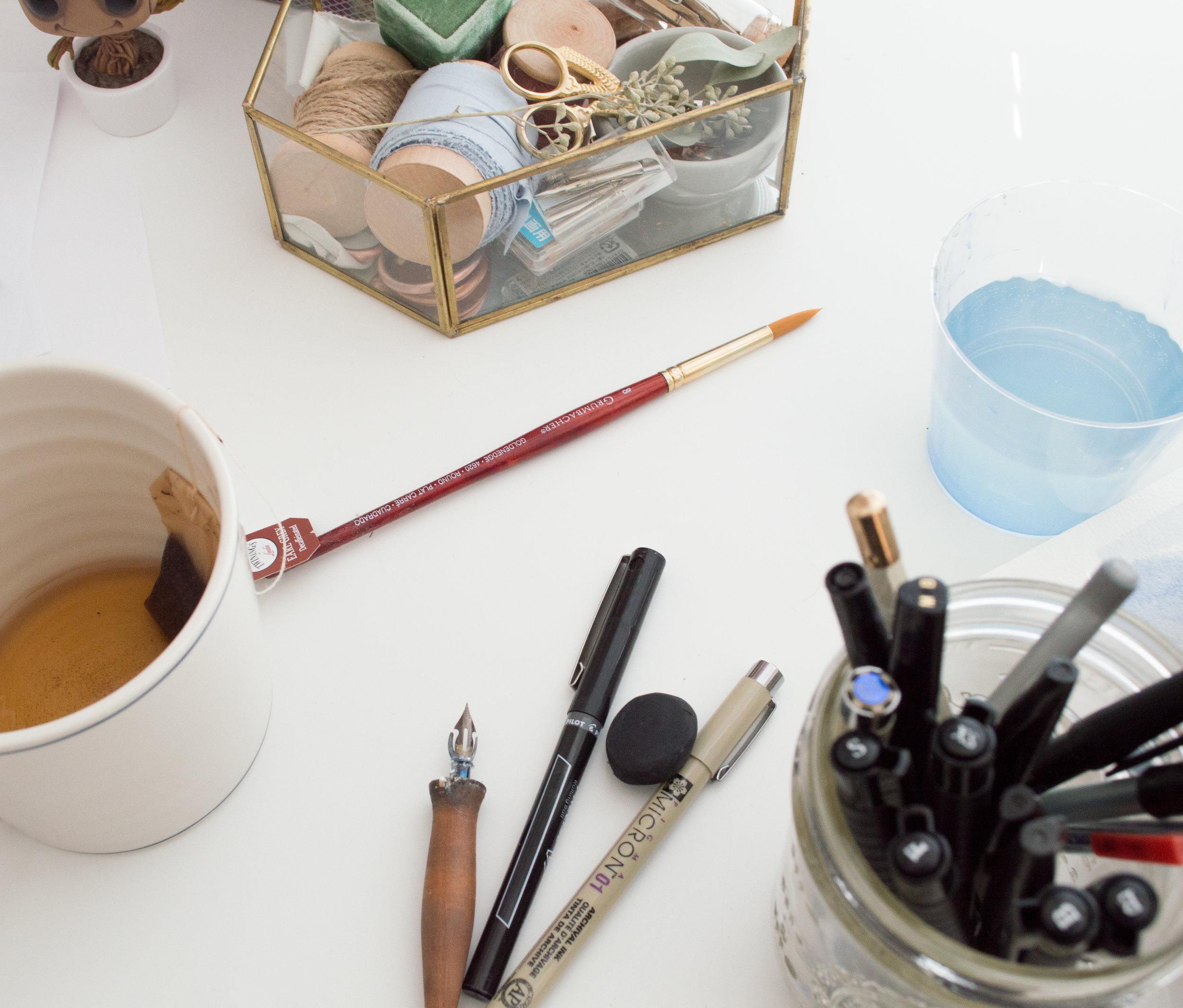 calligraphy supplies, watercolor supplies, marietta calligrapher, wedding calligrapher