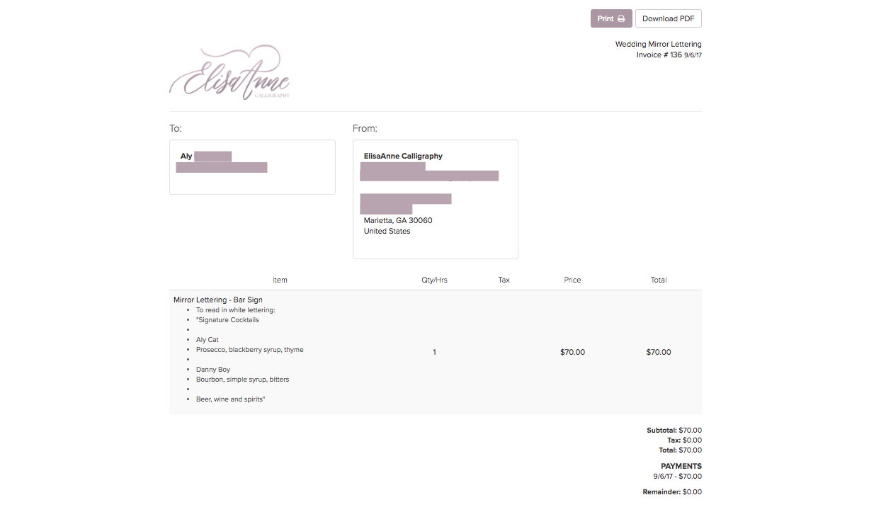 This is a relatively simple invoice compared to the ones that I send most of my clients, but I wanted you to be able to see all of the elements of the invoice and how they look! This is the online PDF view of the invoice without the Dubsado dashboard around it. My mom paid through Dubsado once and told me how EASY it was, which is a huge deal! She's not a big fan of technology to say the least.