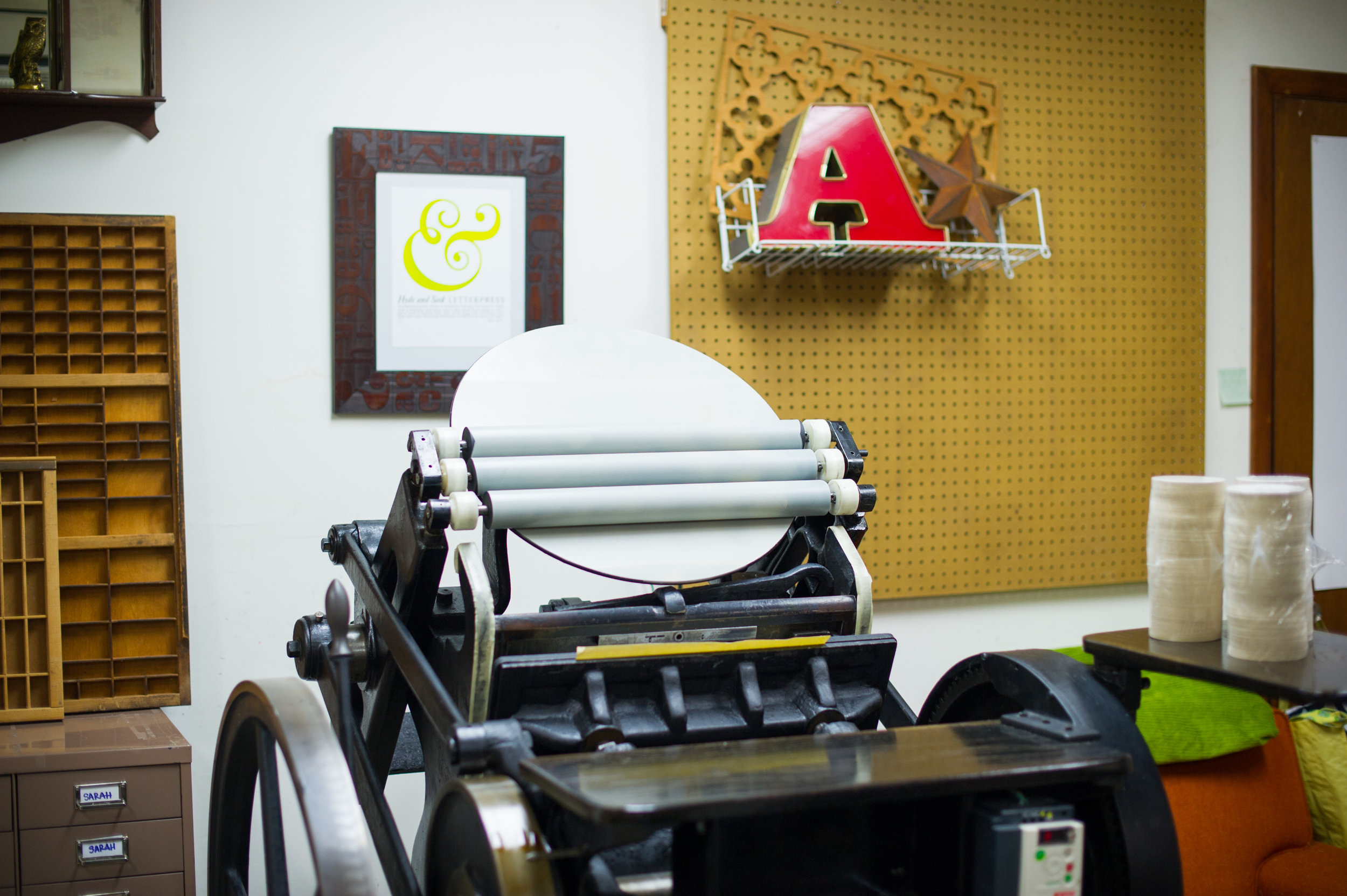 This photo also demonstrates how the letterpress has been prepped with one color of ink!  LAURA BARNES PHOTO.