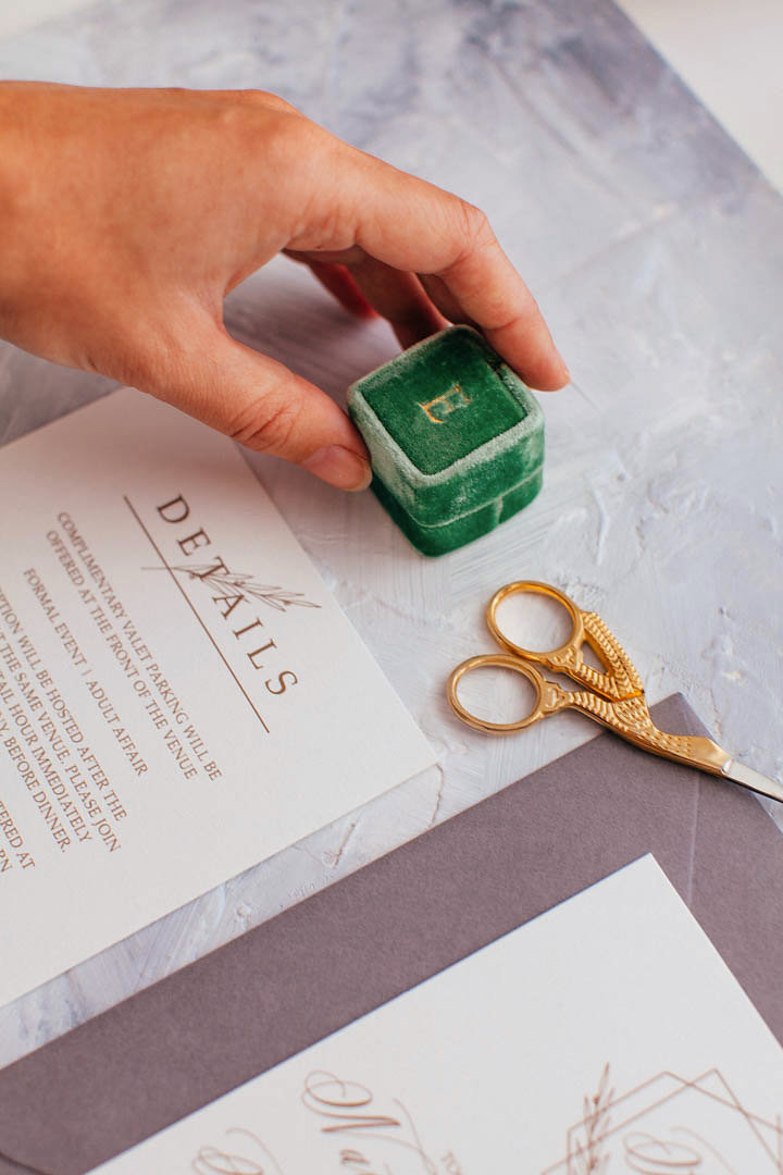 Flat lay image of a suite designed by ElisaAnne Calligraphy that includes special styling props such as a Mrs. Box that Elisabeth received from her mother-in-law when she got engaged in 2014 and a pair of embroidery scissors purchased from a shop in Savannah, Georgia.