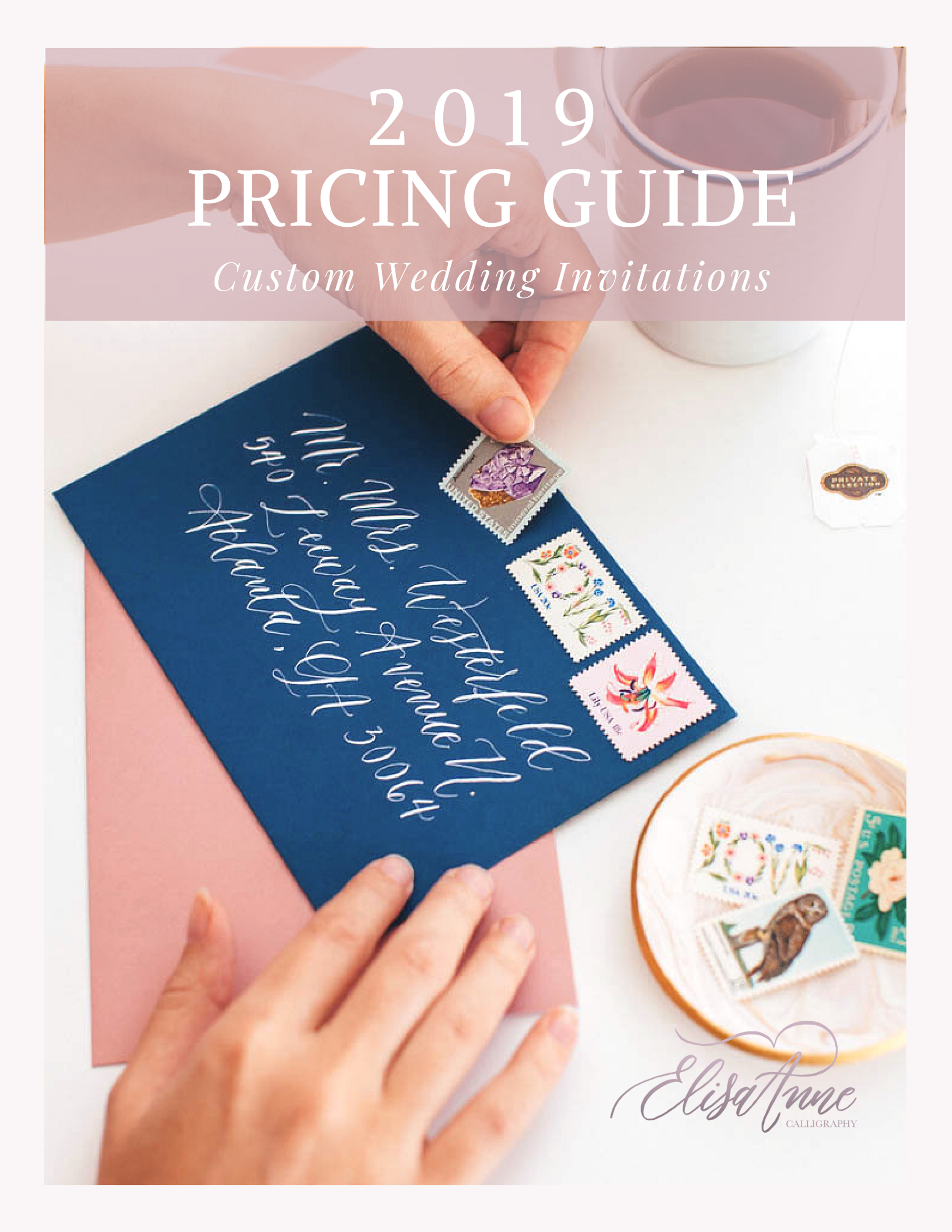 This custom wedding invitation pricing guide includes an introduction to me and my work, as well as testimonials, a custom wedding invitation timeline, pricing chart, portfolio images, and more!