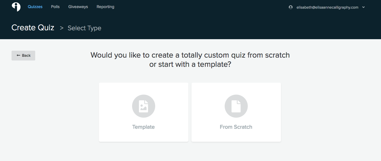 """I chose the """"from scratch"""" option, but the template option offers so many great templates that you can choose from!"""