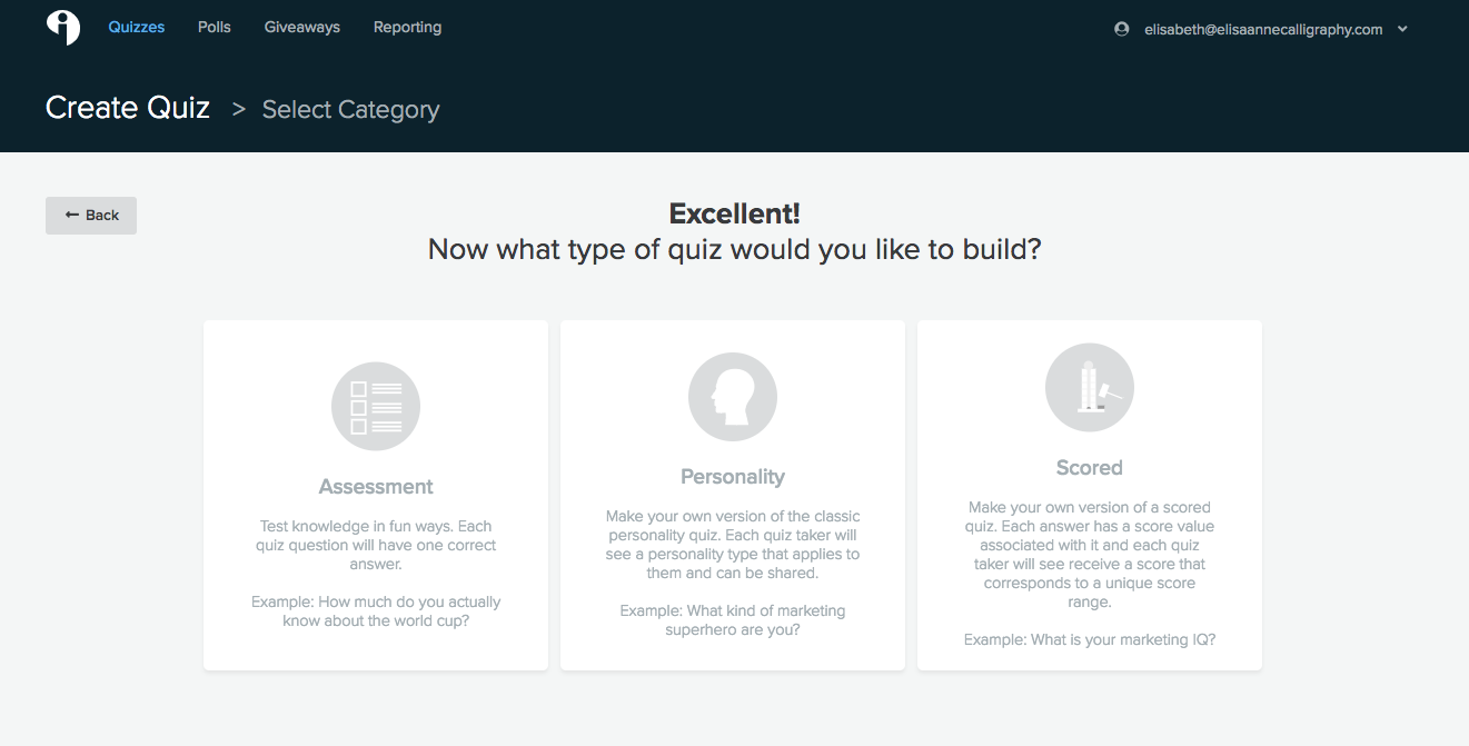 Three types of Interact Quizzes: Assessment, Personality, and Scored