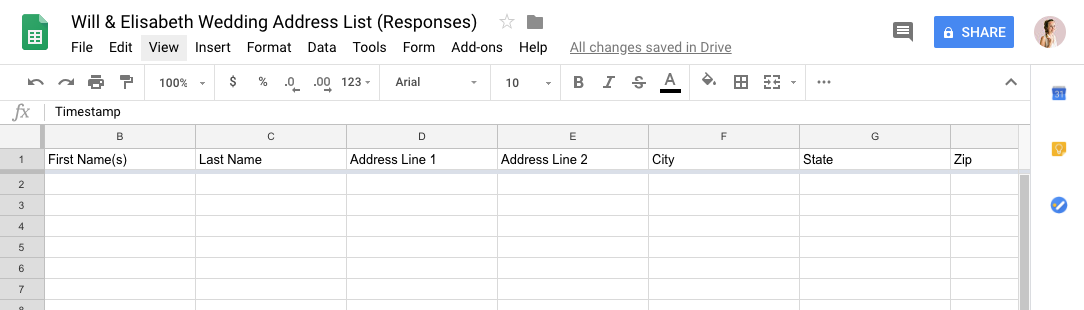This is what the new Google Sheet will look like! It will auto-populate as people fill out your Google Form (AMAZING).