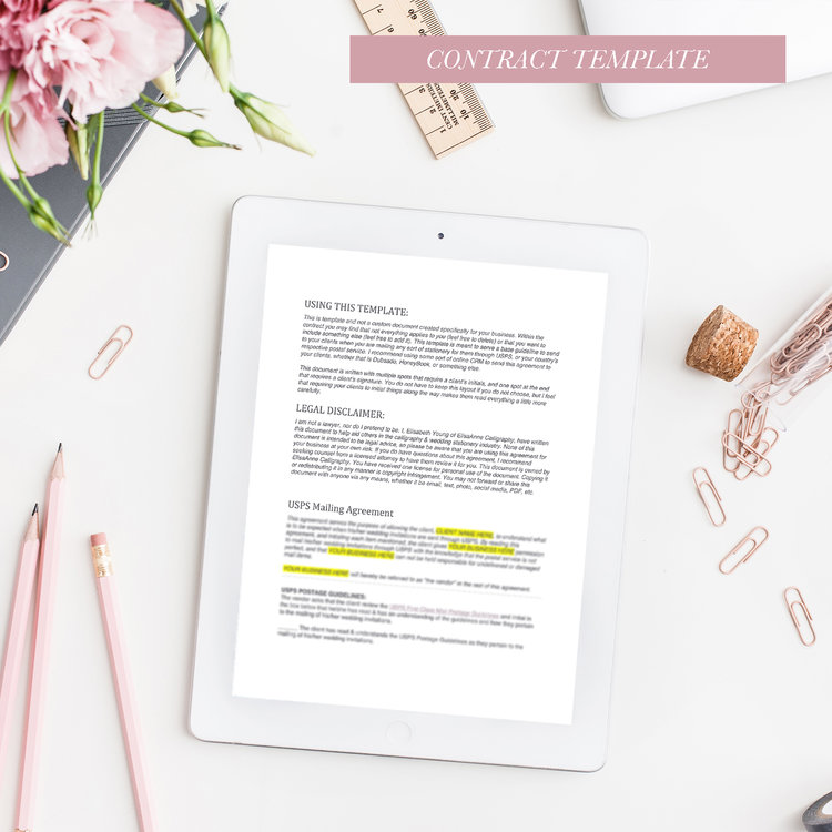 USPS MAILING AGREEMENT FOR CALLIGRAPHERS & STATIONERS - Are you mailing invitations out for your clients? Protect yourself with this mailing agreement so that you and your client both understand what to expect from USPS.