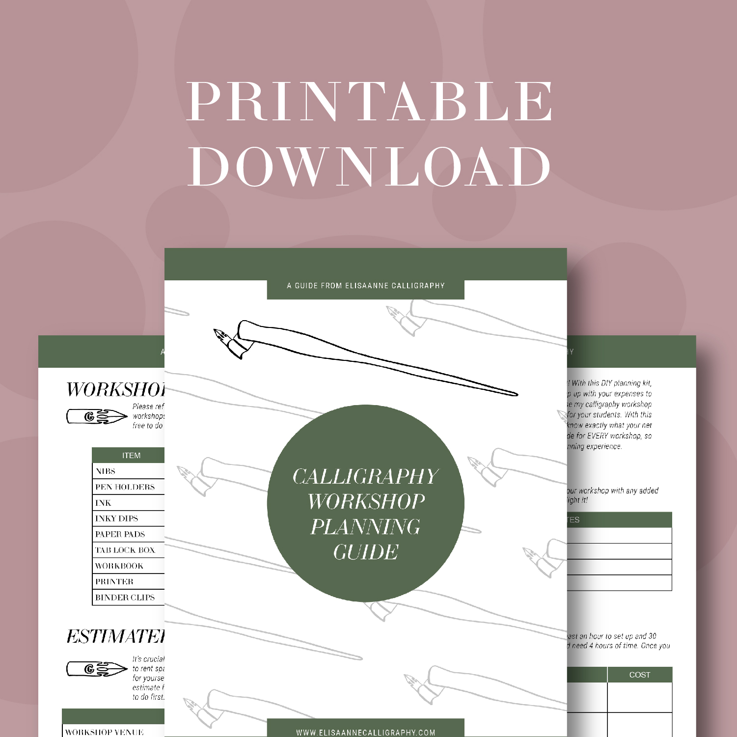 CALLIGRAPHY WORKSHOP PLANNING GUIDE - Want to host a workshop but have no idea where to start? This DIY guide will help you stay organized and keep track of all the details you need!