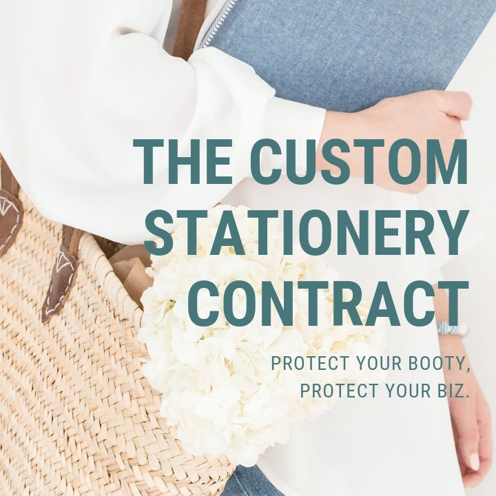 THE CUSTOM STATIONERY CONTRACT - Written for stationers, by stationers, this contract template is lawyer approved and 7 pages long with clauses that will protect your booty & your biz. All verbiage is easy for both you AND your client to understand.