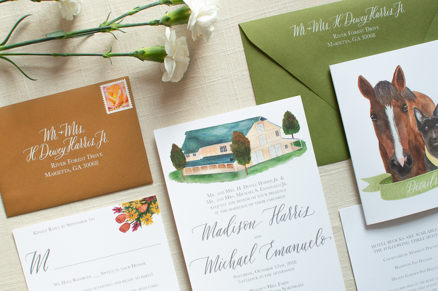 Our customized RSVP cards allowed us to fill in the number of guests each invitation included with each invitation