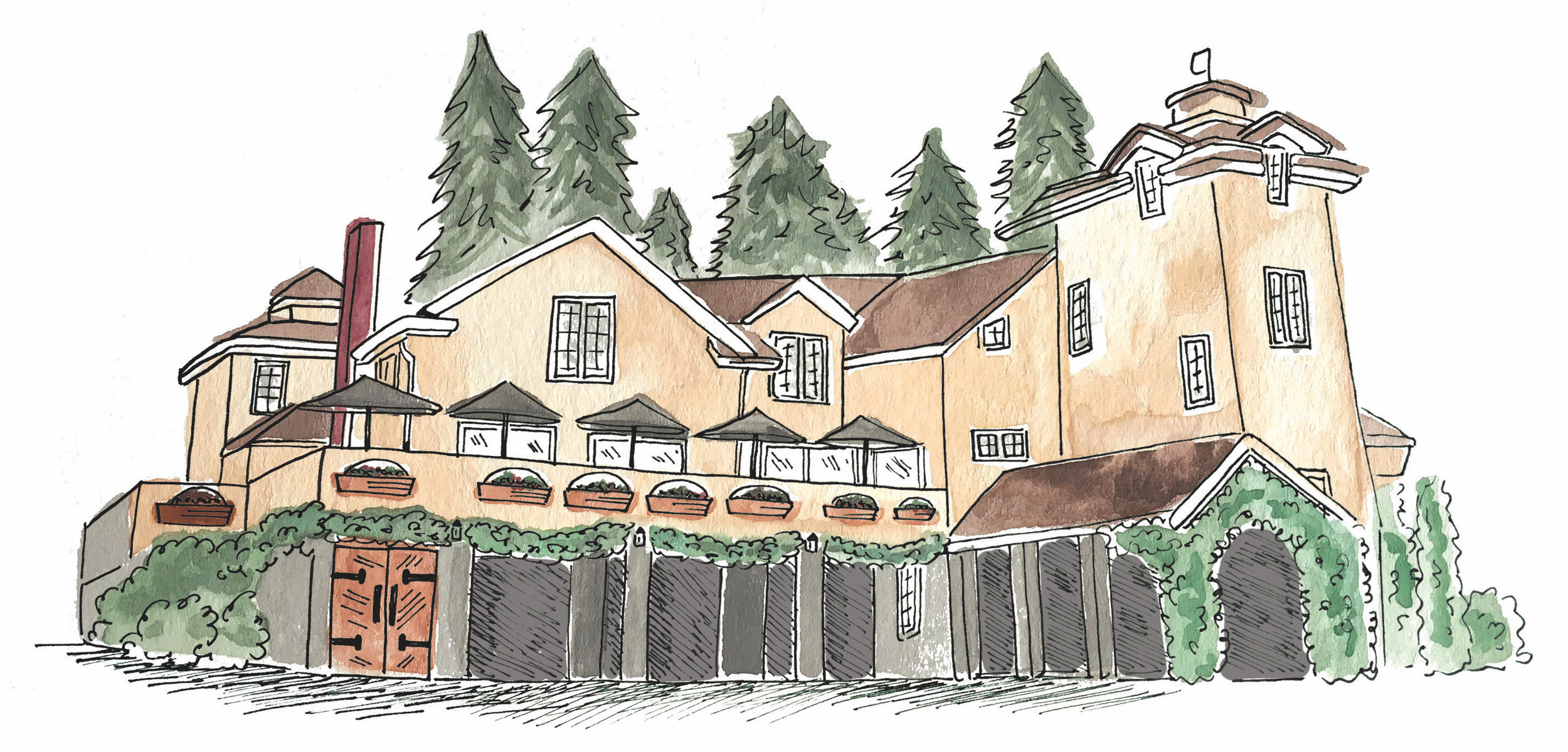 venue illustration of delille cellars by elisaanne calligraphy. all illustrations are property of elisaanne calligraphy and may not be used in any manner without written permission from elisaanne calligraphy.