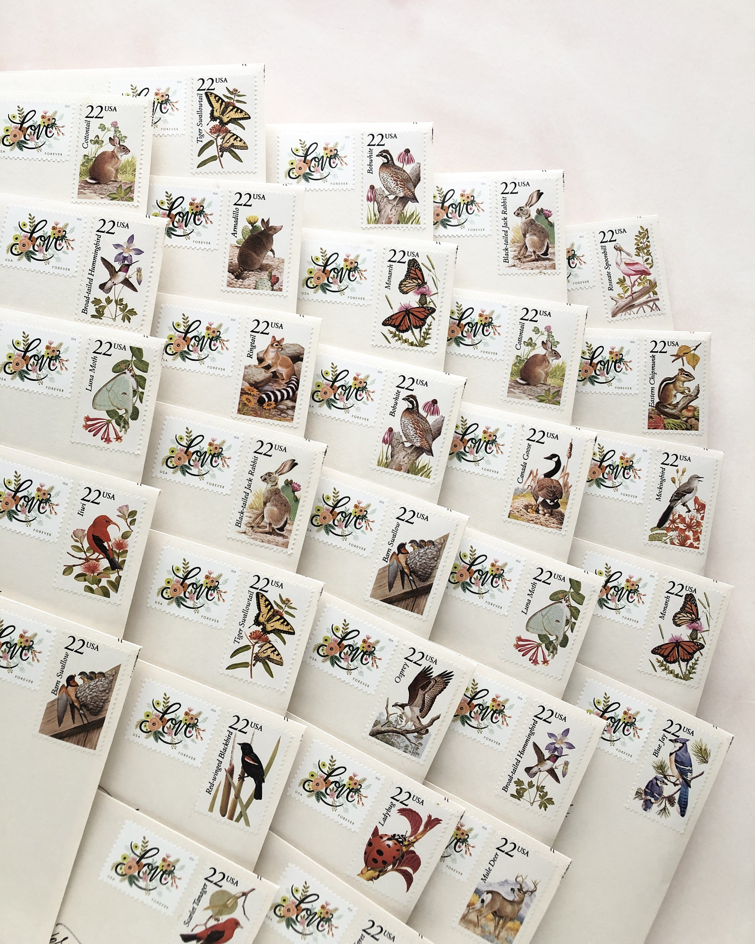 this set features another mix of modern & vintage postage. The vintage postage sheets, with the stamps valued at 22 cents each, featured a variety of nature stamps that I absolutely loved.