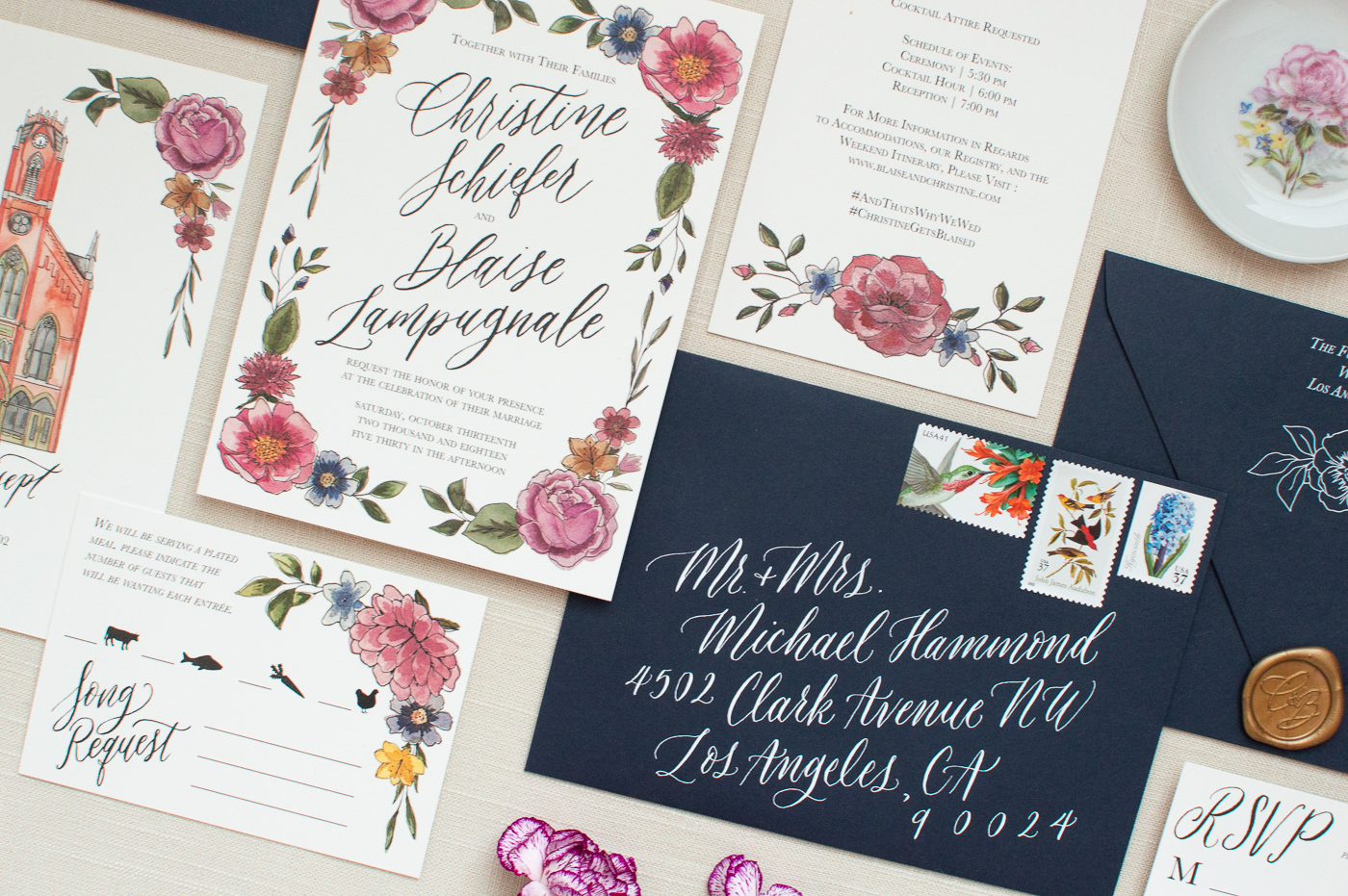 christine & blaise's invitation is still one of my favorites! All of the floral illustrations on their invitation are custom done by me with a combination of watercolor art and line drawing details!