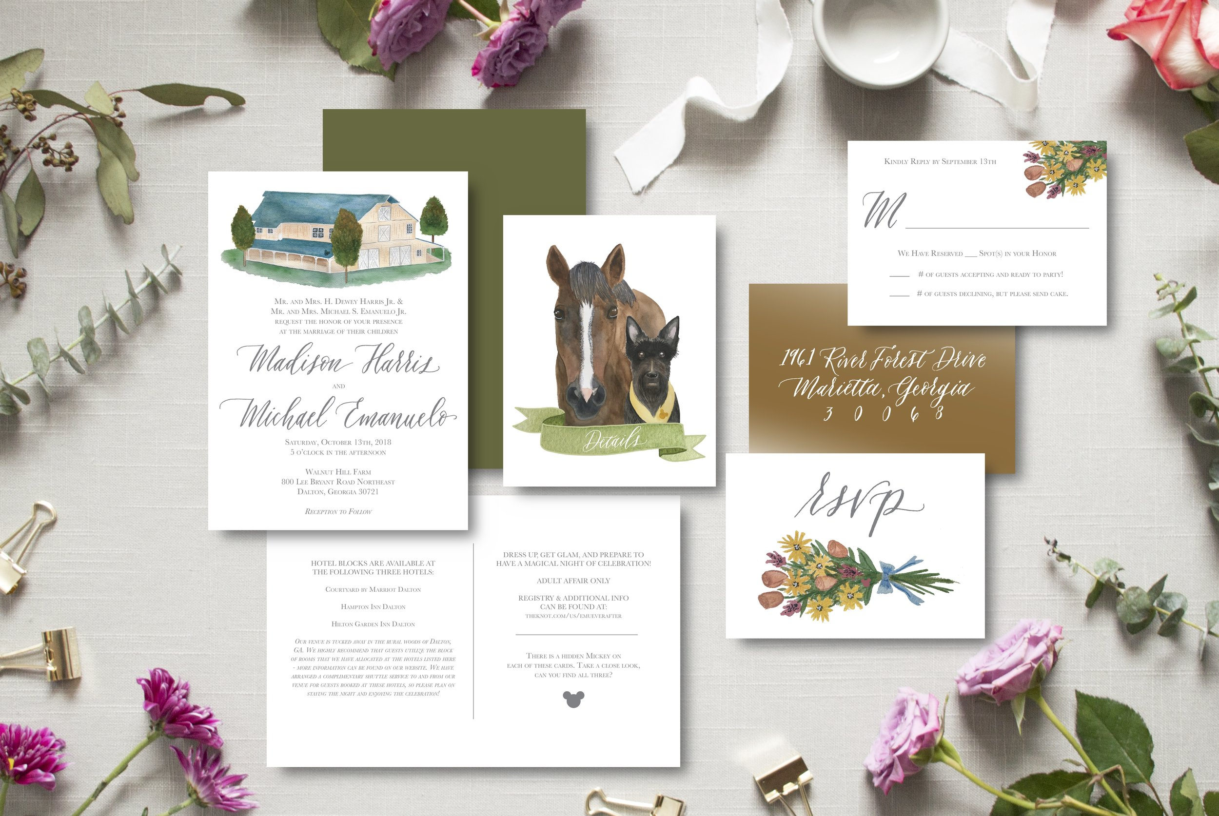 madison & michael's suite featured their darling pets on the front of their folded details card! Such a fun elements in the invitation suite, especially because their pets are so important to them and weren't actually present on the day of the wedding.