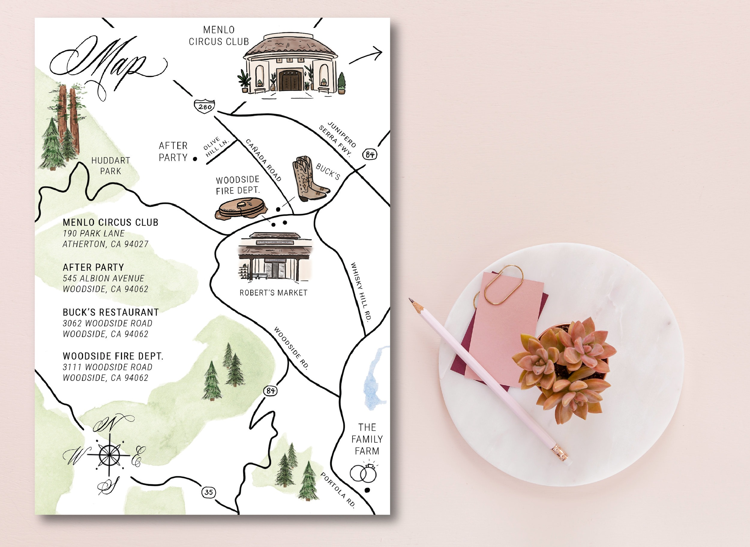 this custom wedding map was for a woodside, ca wedding! It featured all the key spots for the wedding weekend, as well as a few fun additional details (like places in her hometown that the bride loveD).