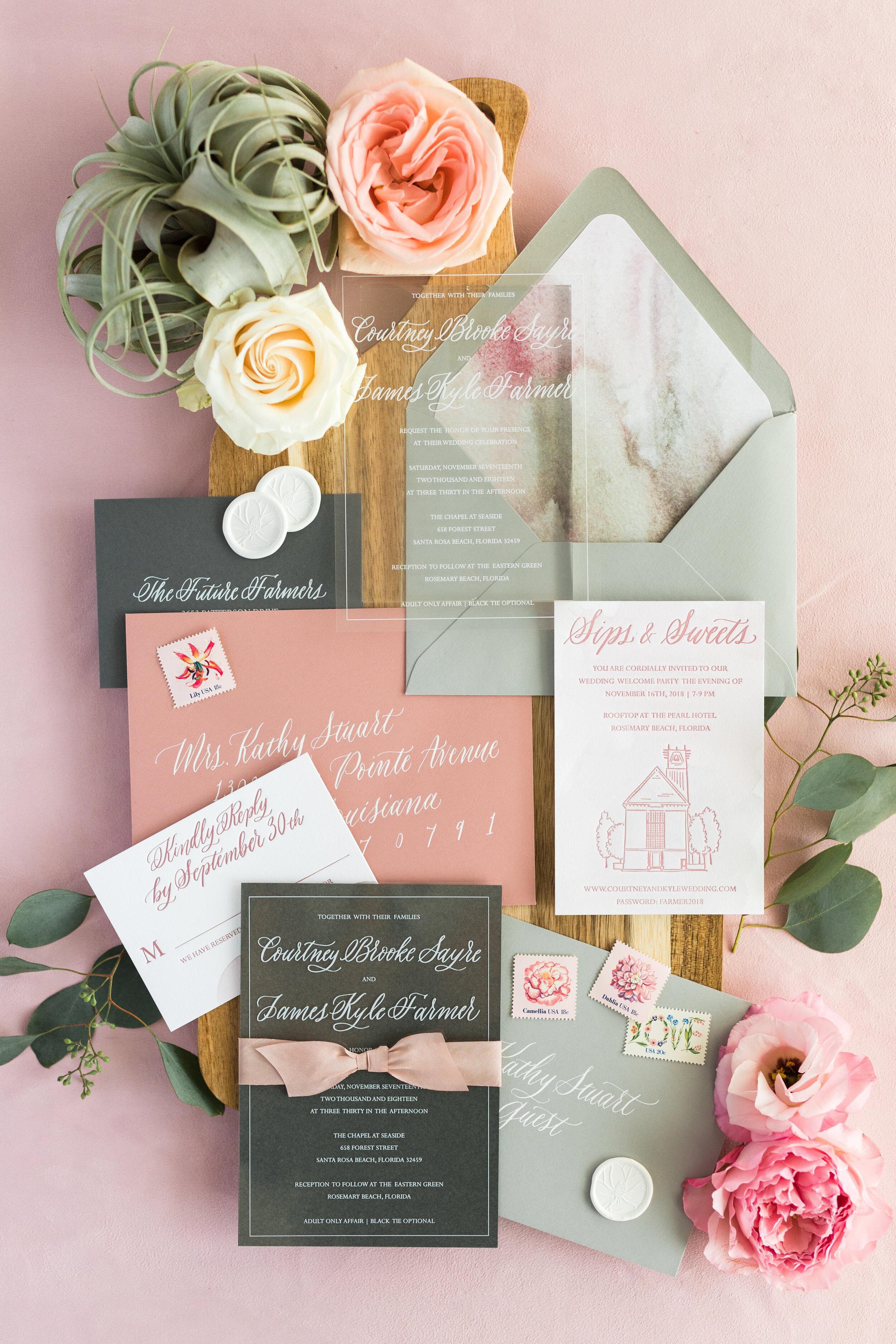 custom wedding invitations, atlanta stationery design, atlanta stationer, atlanta letterpress studio, atlanta calligrapher, calligraphy invitations