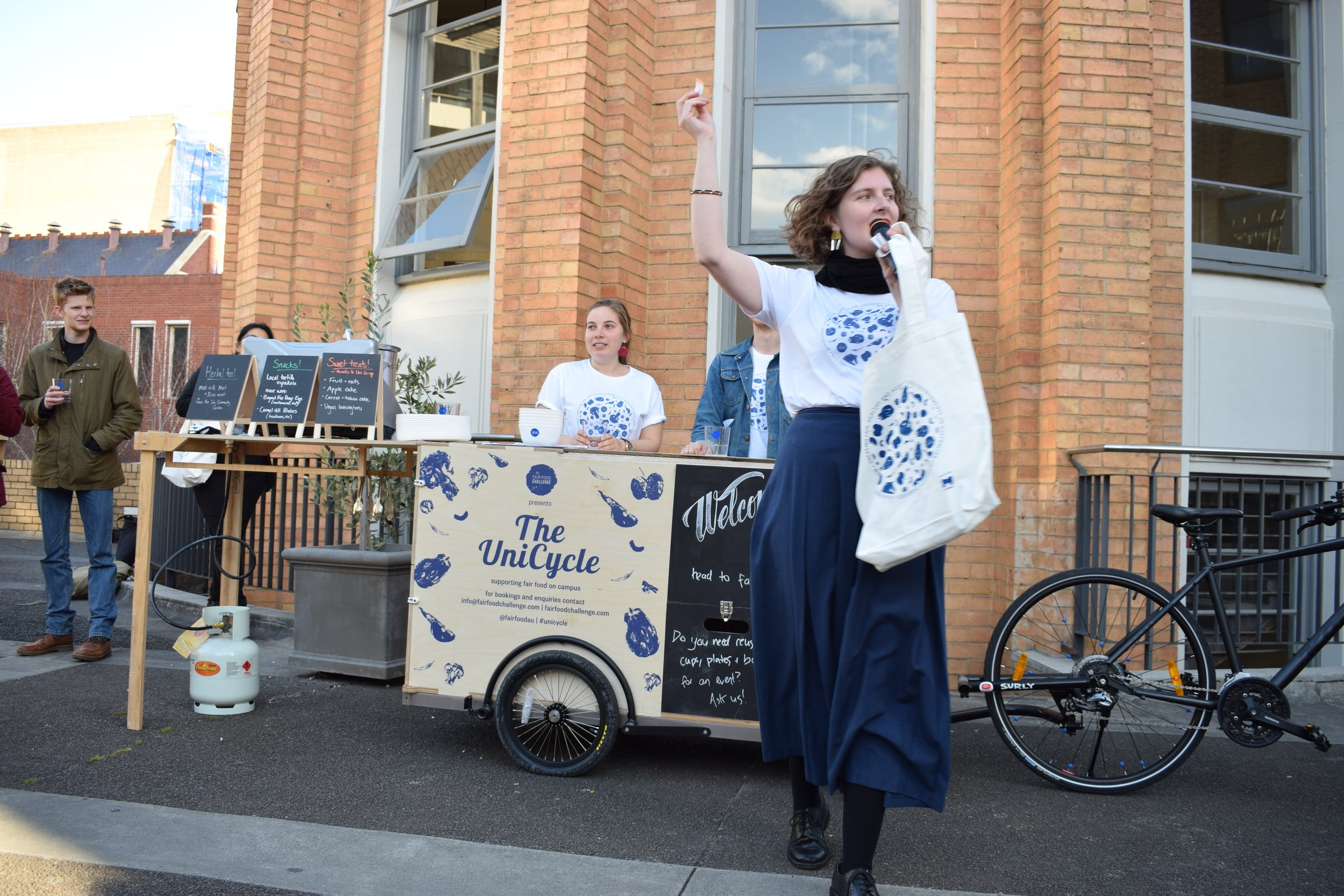 Fair Food Challenge director Sophie launched the bike and announced the lucky winners of our door prizes