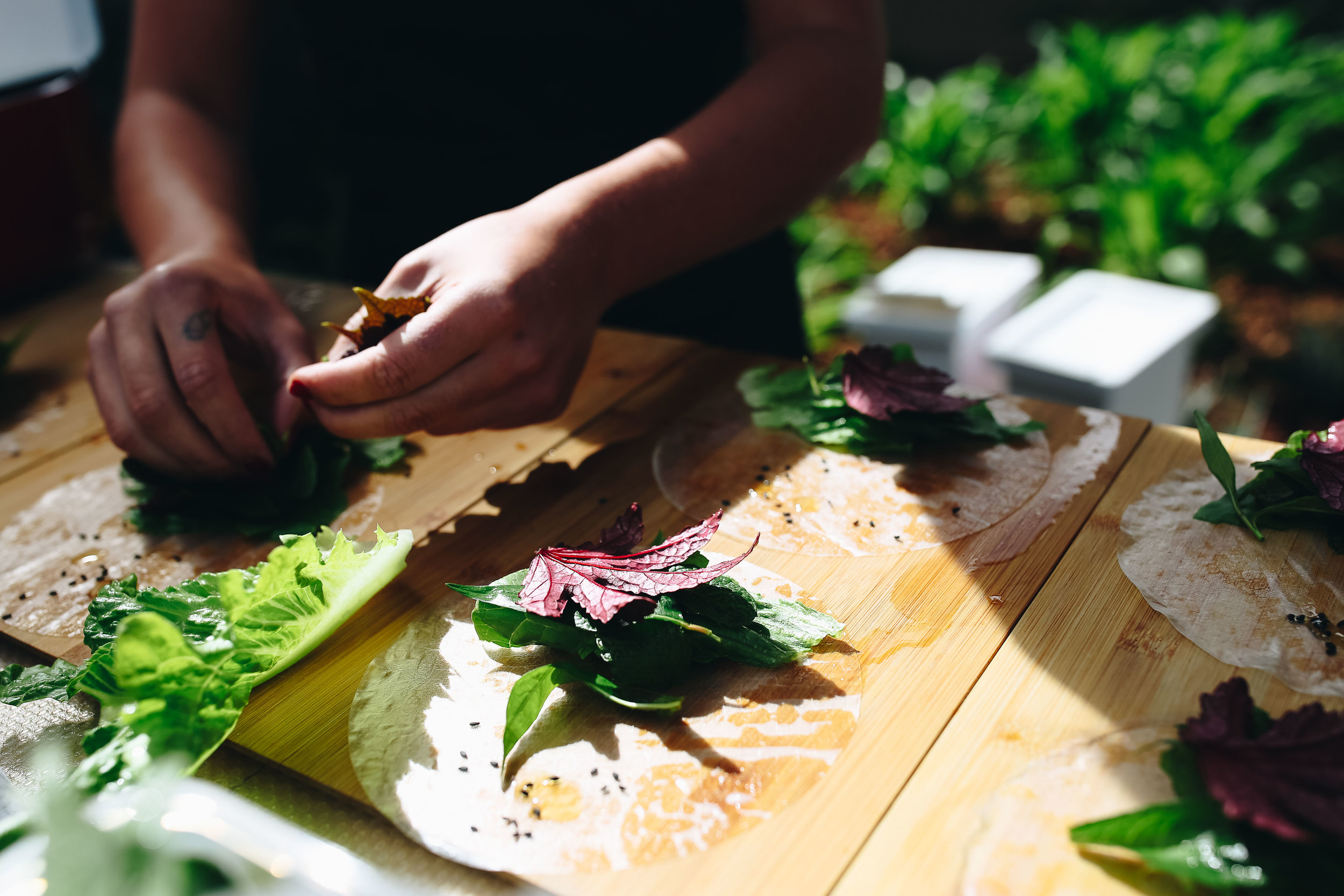 A participant of the cooking demonstration stacking on Vietnamese mint, cranberry hibiscus and fresh cos lettuce into many rice paper rolls.