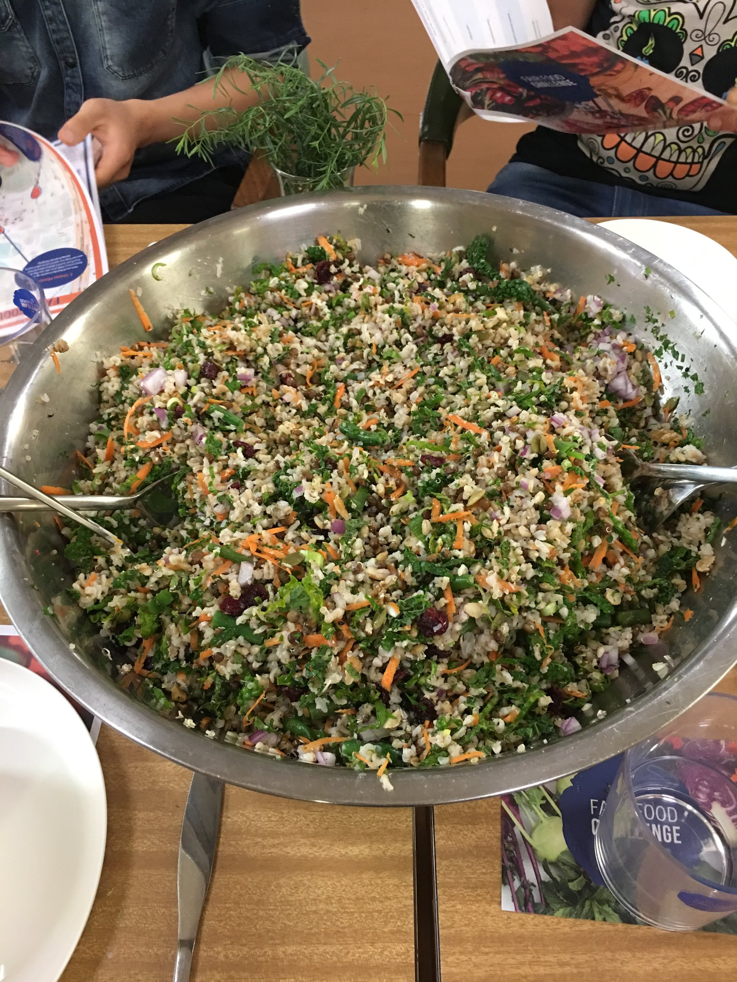 The final product: a colourful and large quantity of grain salad