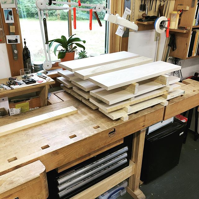 Drawer parts for the kitchen renovation rough milled to stabilize. Stacked nicely on the newly cleared bench.