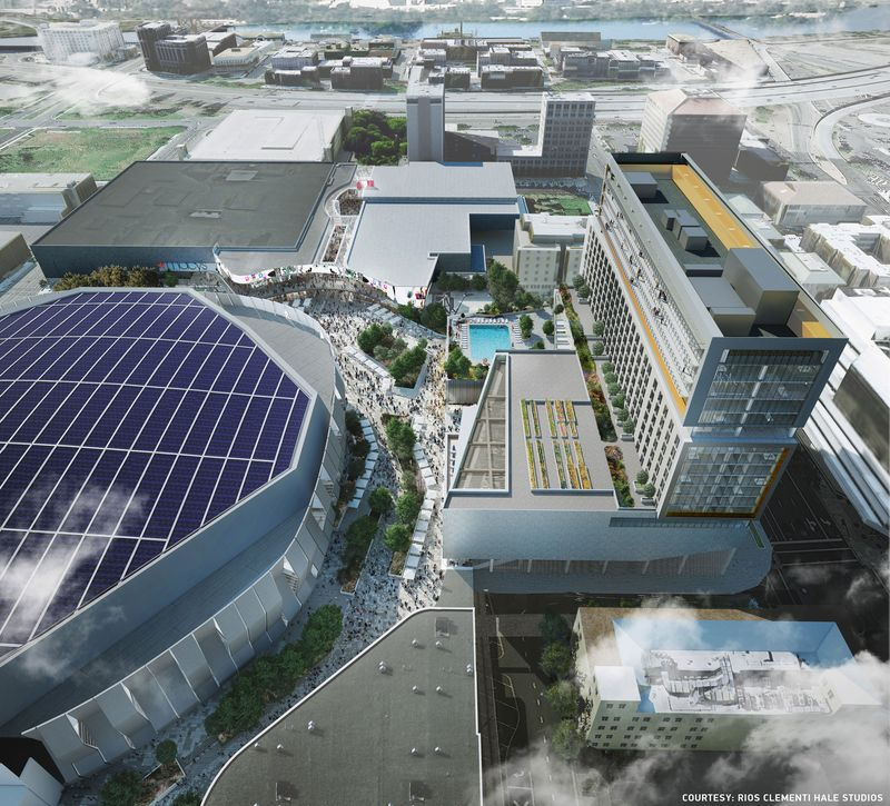 Renderings of the new arena and shopping plaza in Sacramento.