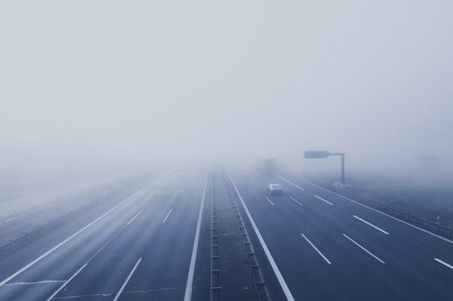 A foggy highway.