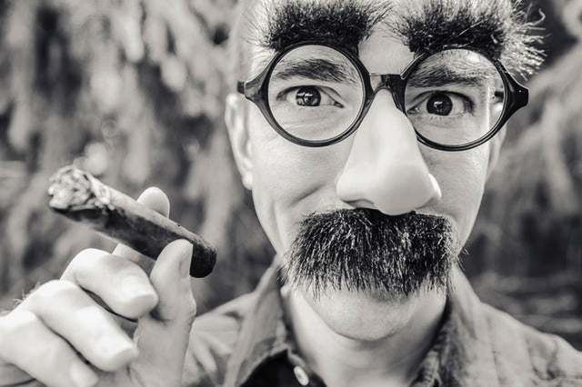 Man wearing funny glasses with a fake nose and mustache while smoking a cigar.