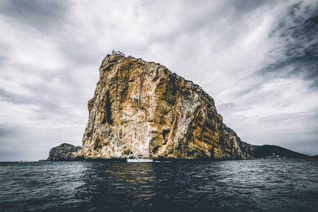 Rock in ocean.
