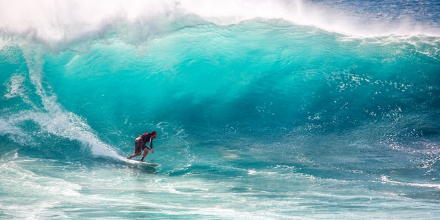 Confident man surfs a massive wave.